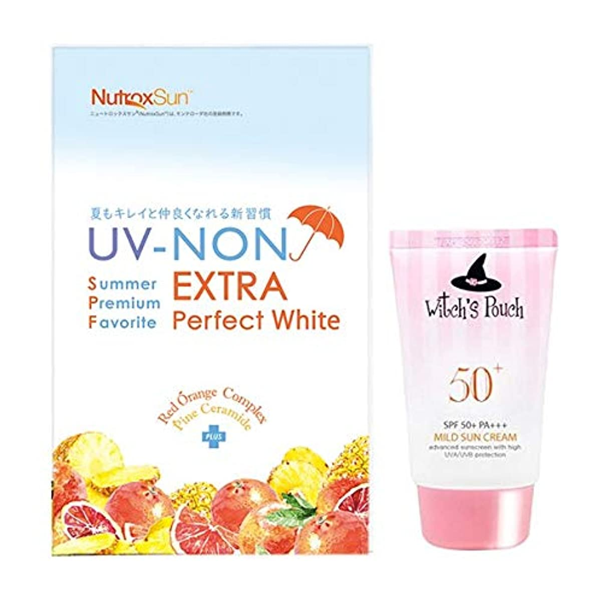 断言するリード特徴アエナ 紫外線ケアセット [サプリ+サンクリーム] UV-NONエクストラ パーフェクトホワイト (30日分 60粒) 飲む夏の美容対策 ウィッチズポーチ 日焼け止め SPF50 PA+++ 50ml