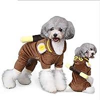 CAFUTY 犬の服秋と冬の服ペットの服子犬の四足の服 (Color : ブラウン, サイズ : L)
