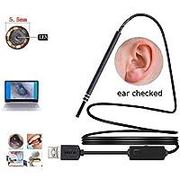 耳内視鏡、5.5MM視覚耳のクリーニングPC内視鏡カメラ耳鼻咽頭内視鏡ミニ内視鏡、6つの調整可能なLED、コンピュータ用