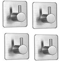 4 PCSウォールフック、ステンレススチール自己接着タオルフック、耐水性、耐油性、壁掛け、バスルーム、キッチン、リビングルーム。 (Wall Hooks)