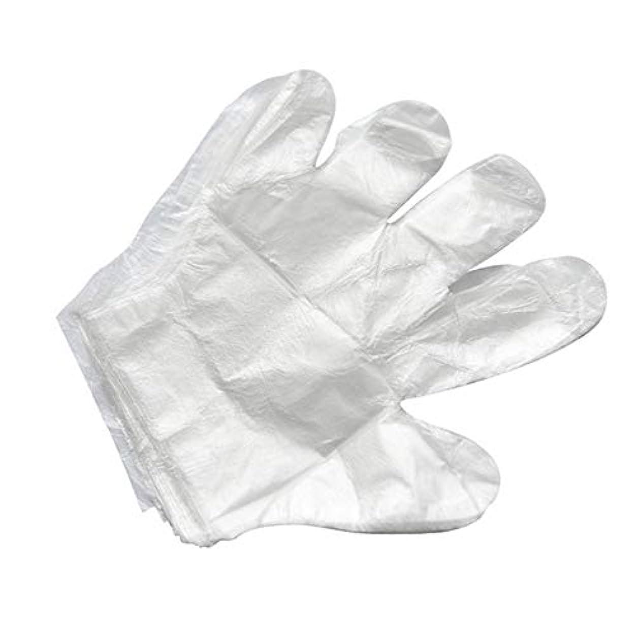 シングル分数匹敵します使い捨て手袋バーベキューアクセサリー高度なキャスティング手袋使い捨てケータリングDIYクリーニングヘアダイ食品グレードプラスチック手袋(2000)透明のみ