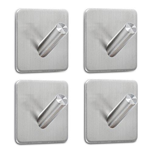 ASILA キッチンツールフック 超強力 高耐荷重 落下防止 4个 フック 3Mステッカー + フル 304ステンレススチール タオルフック 壁掛け 玄関 浴室 寝間 キッチン可用 (B003)