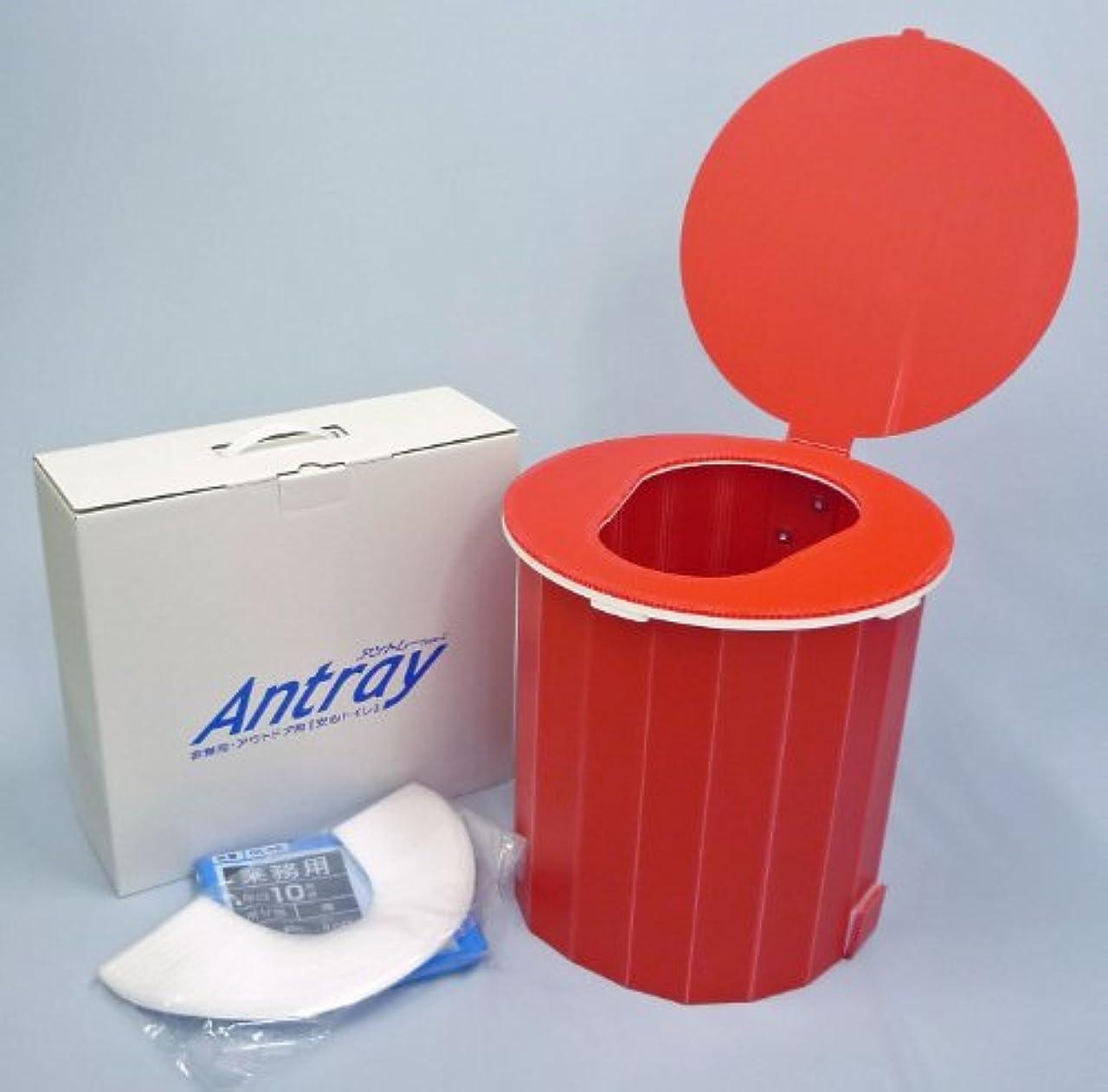 聴衆会社机簡易トイレ アントレー Type-C 標準セット (レッド)