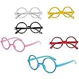 子供6色のキャンデーの色のセットファッションかわいいメガネフレームレンズなしのレトロ眼鏡パーティー用品(カラーランダム) (A#)
