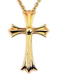 人気 メンズ ブランド SBG ビッグ クロス ネックレス 金 銀 十字架 ぺンダント トップ (ゴールド)