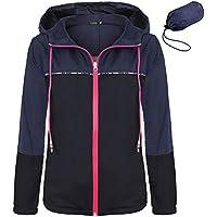 FISOUL Women's Waterproof Raincoat Packable Active Outdoor Hooded Lightweight Rain Jacket Windbreaker S-XXL