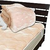 メーカー直販 あったかムートン調 アクリルマイヤー毛布敷きパッド セミダブル 120×205cm ピンク