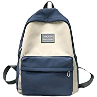 Teenage Students Contrast Color School Bag,Boys Girls Large Capacity Waterproof Nylon Schoolbag, Light Backpack with Wide Shoulder Strap,Blue