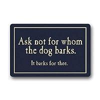 犬の鳴き声ドアマット洗濯機で洗えるドアマットカスタムフロアマットゲートパッドカバー23.6(L)x 15.7(W)インチ