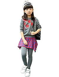 ノーブランド品 ガールズ 上下2点セット トレーナー スカートパンツ セットアップ 韓国ファッション スウエット 春秋用 子供服 女の子 カジュアルウエア