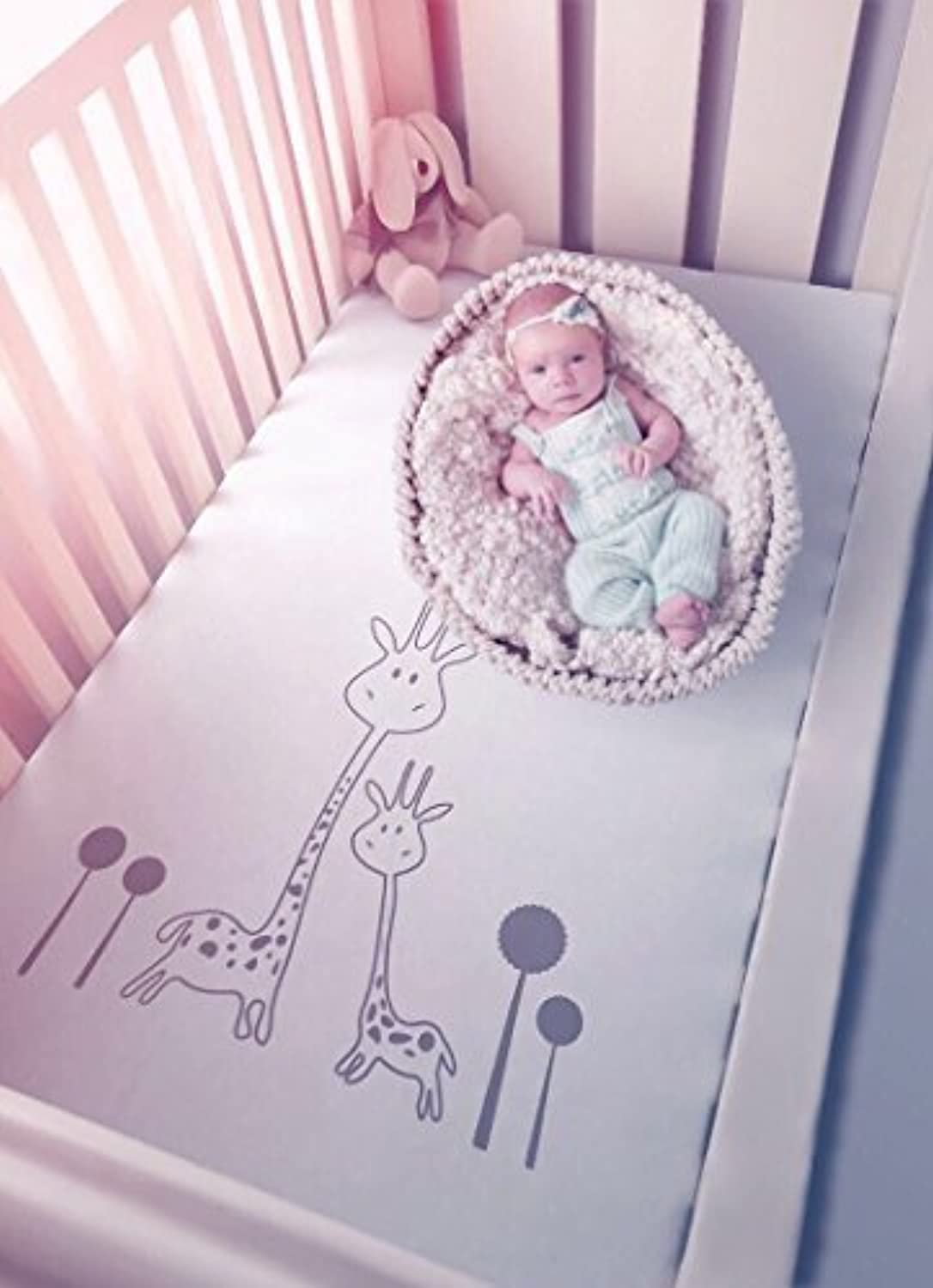 Baby Crib Sheet Set 2 Pack BabyJOX 100 Percent Egyptian Cotton Fitted Toddler Bed Mattress Sheets Jersey Soft Fabric Gender Neutral for Girl and Boy White Giraffe Solid Gray (Grey Girafe) [並行輸入品]