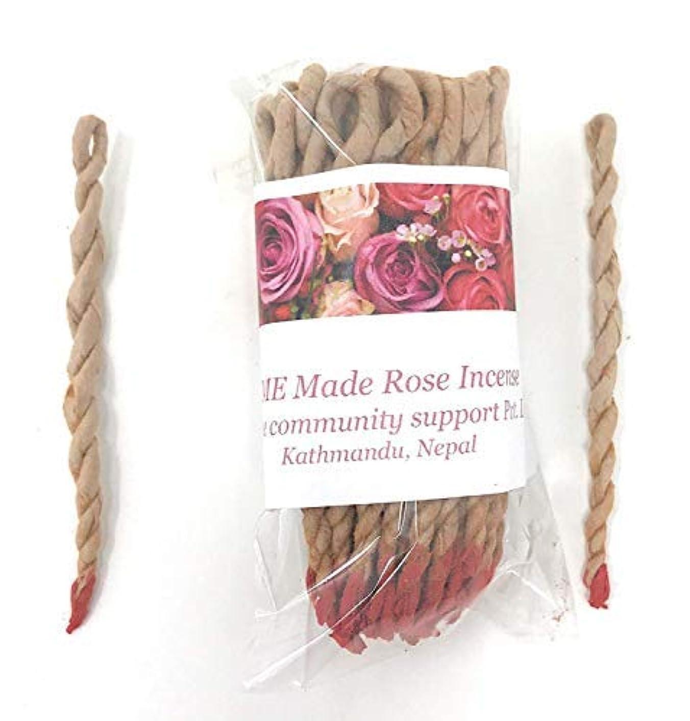 悲観的配偶者喜びHome Made有機ローズチベットRope Incense Made inネパール(各バンドルには約45 inロープ)