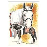 チェリー丁目 5Dダイヤモンド絵画キット - 白馬と黒馬 - DIY手作り ラインストーン 、家の装飾、初心者に適しています