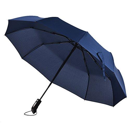Roleness おりたたみ傘 ワンタッチ自動開閉 頑丈な10本骨 117cm 大きいサイズ ネイビー 人間工学に基づいたハンドル 日傘 軽量 耐風撥水 男女兼用 晴雨兼用 収納ポーチ付き
