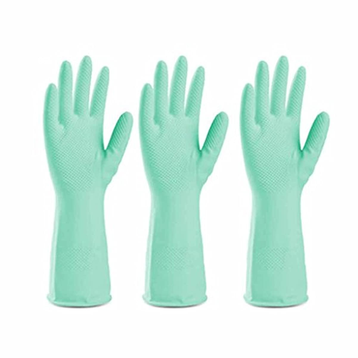 カウンタ相対サイズ地上の使い捨て手袋 グリーンラテックス滑り止め耐久手袋キッチン多機能防水油手袋 (Size : Three pairs)