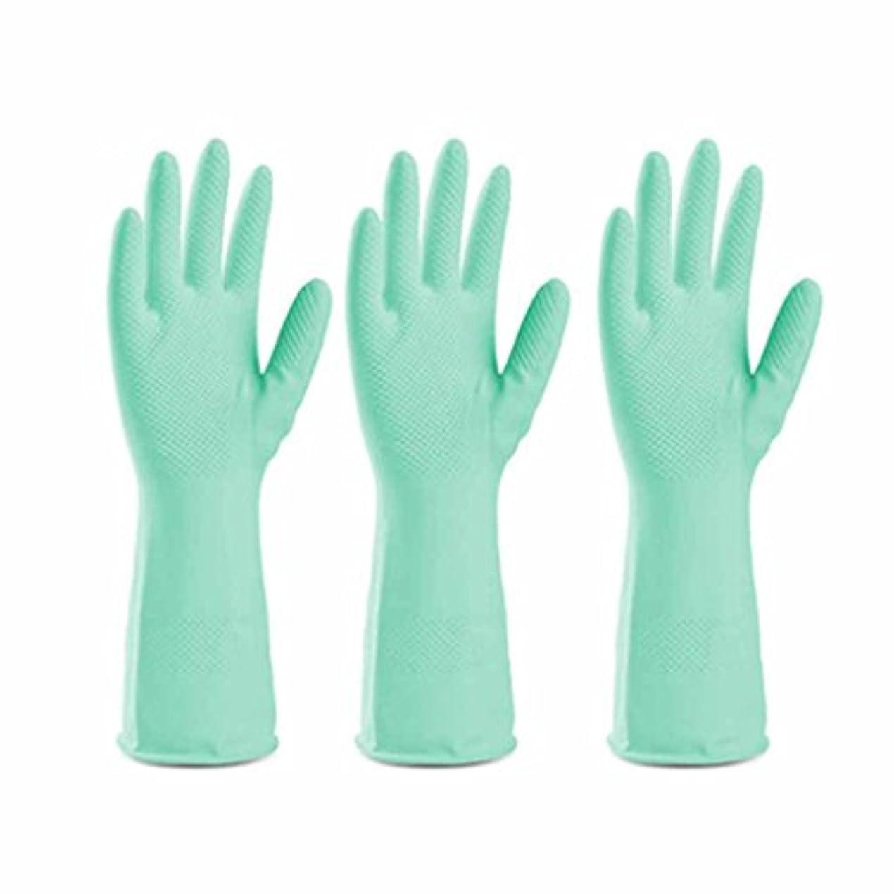 地平線飲食店パスポート使い捨て手袋 グリーンラテックス滑り止め耐久手袋キッチン多機能防水油手袋 (Size : Three pairs)