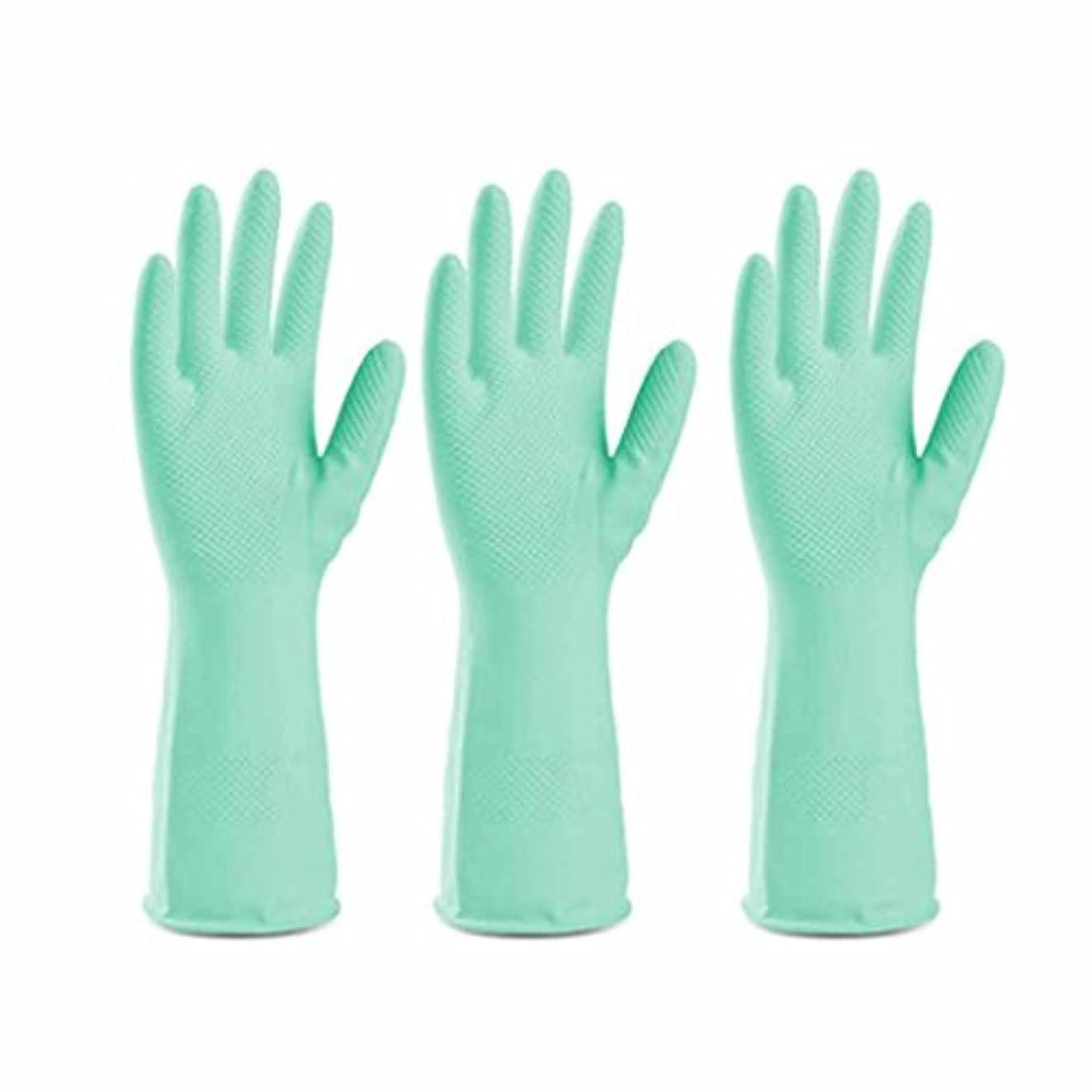行商人ノベルティドナー使い捨て手袋 グリーンラテックス滑り止め耐久手袋キッチン多機能防水油手袋 (Size : Three pairs)
