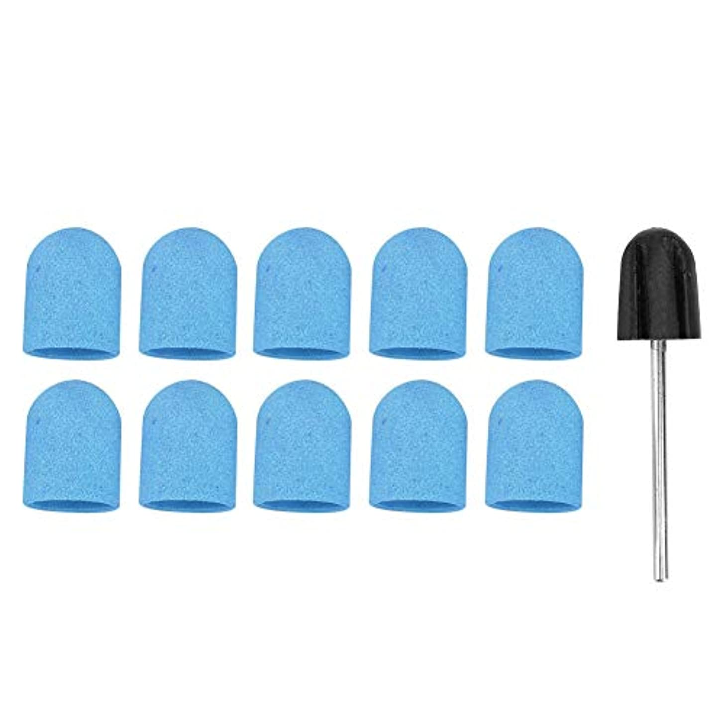 介入するテレビ局レイネイルドリルブロックキャップ、ネイルアートサンディングバンド13 x 19 mm(1グリップ付き)、ネイルサロンまたは個人使用、マニキュア用のポリッシュ研磨ヘッド、ネイル研磨およびトリミング(2)