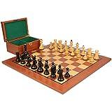 Yugoslavia Stauntonチェスセットin Ebonized Boxwood & Boxwoodマホガニーボード&ボックス – 3.25