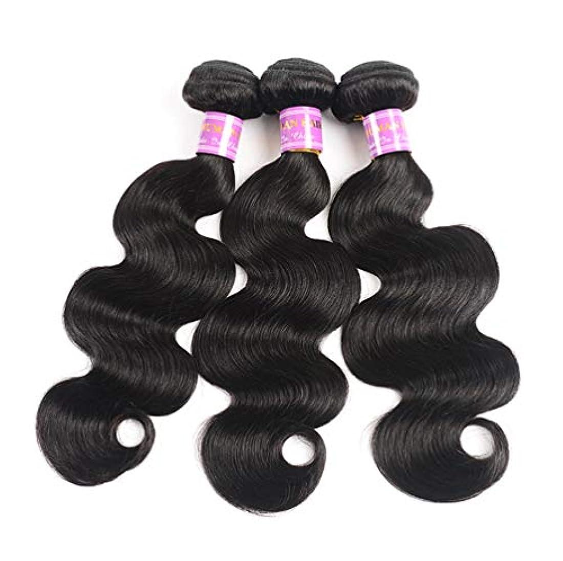 アクセス対称正確にブラジルのバージンの毛3は100%の加工されていない人間の毛髪の束自然な色のブラジルの毛延長毛を束ねます