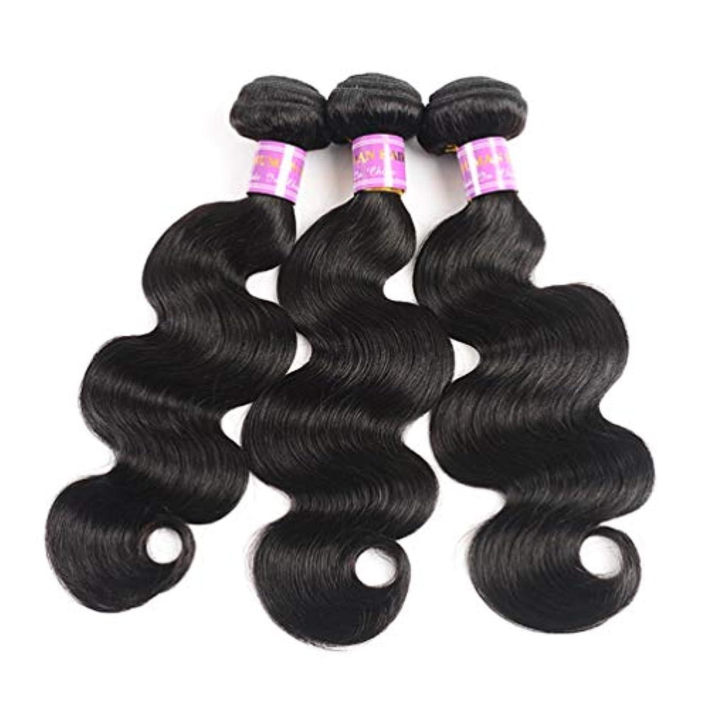 空いている登録誘導ブラジルのバージンの毛3は100%の加工されていない人間の毛髪の束自然な色のブラジルの毛延長毛を束ねます