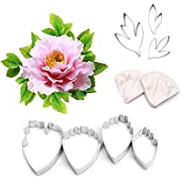 AK ART KITCHENWARE Leaf and Flower Tool Kit 7Pcs Stainless Steel Cutter 2 Pcs Silicone Veining Mould Petal Texture Tool Sugar Flower Making Tool A356/A339 & VM060
