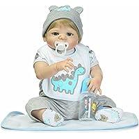 Boy Reborn新生児赤ちゃん人形フルボディシリコン22インチビニールLifelike Kids Toys with MagneticおしゃぶりGoldenショートウィッグ