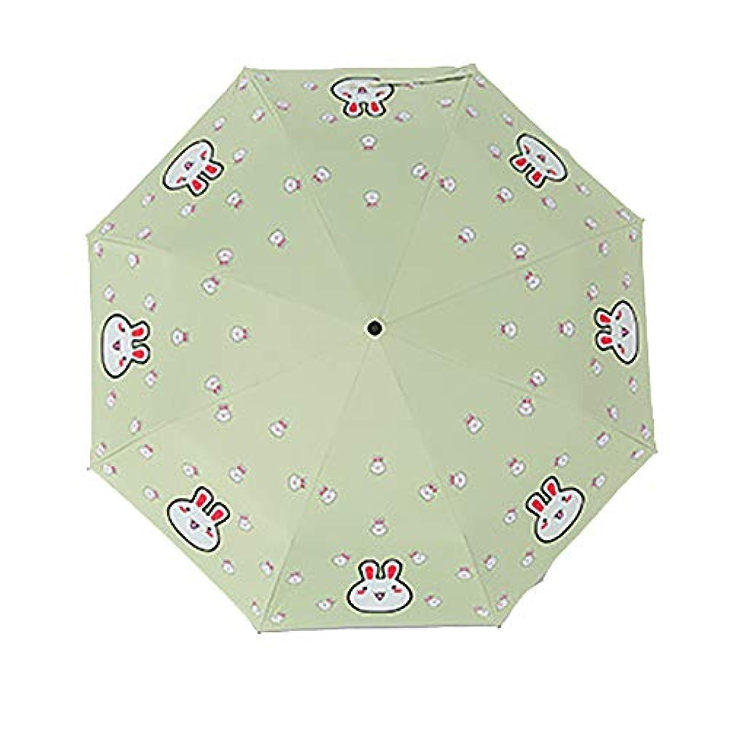 魔術師パットコミット小さな新鮮な太陽の傘の漫画かわいい黒いプラスチックの雨デュアルユースの日焼け止めシンプルな学生の傘の折り畳み傘の女性
