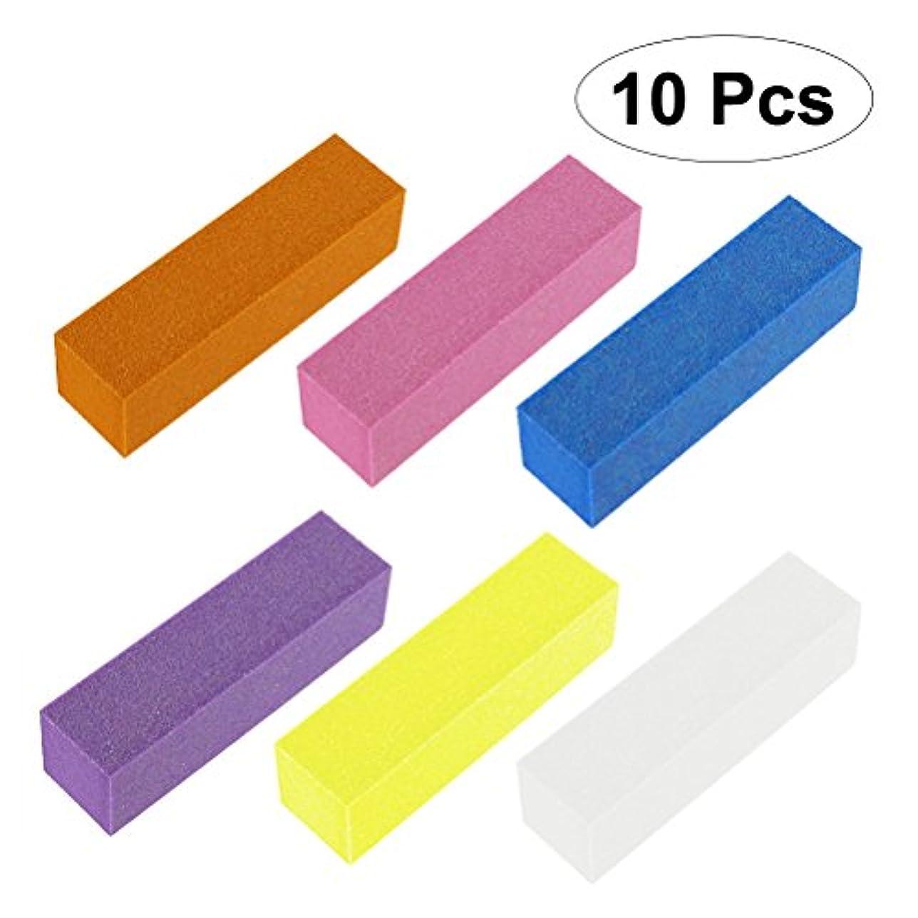 カーテン放出木製ROSENICE 10個 ネイルブロック バフ研磨パッドブロックファイルマニキュアペディキュアケアツール