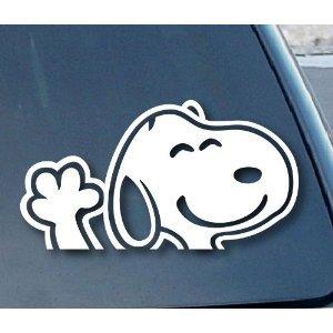 スヌーピー 手を振る こんにちは 車の窓(カラー:ホワイト)ビニール デカールステッカー 6インチ