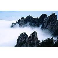 おとぎの国のような山々の美しさ キャンバスの 写真 ポスター 印刷 旅行 風景 景色 - (105cmx70cm)