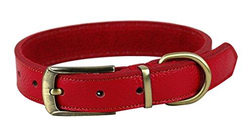Rantow 丈夫なレザーのクラシックペットドッグカラー、調節可能なネックサイズ35cm〜45cm、幅2.5cm 小型または中型犬のための調整可能な犬の首輪 (赤)