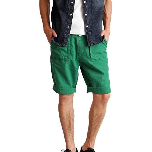 (ハイクオリティプロダクト) High quality product メンズ 綿麻ベイカーショーツ ハーフパンツ リネンパンツ XLサイズ グリーン