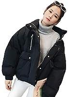 YiTong レディース ダウンコート ダウンジャケット 中綿コート トップス アウター 長袖 韓国風 ゆったり ショート丈 厚手 防風 防寒 学生黒T