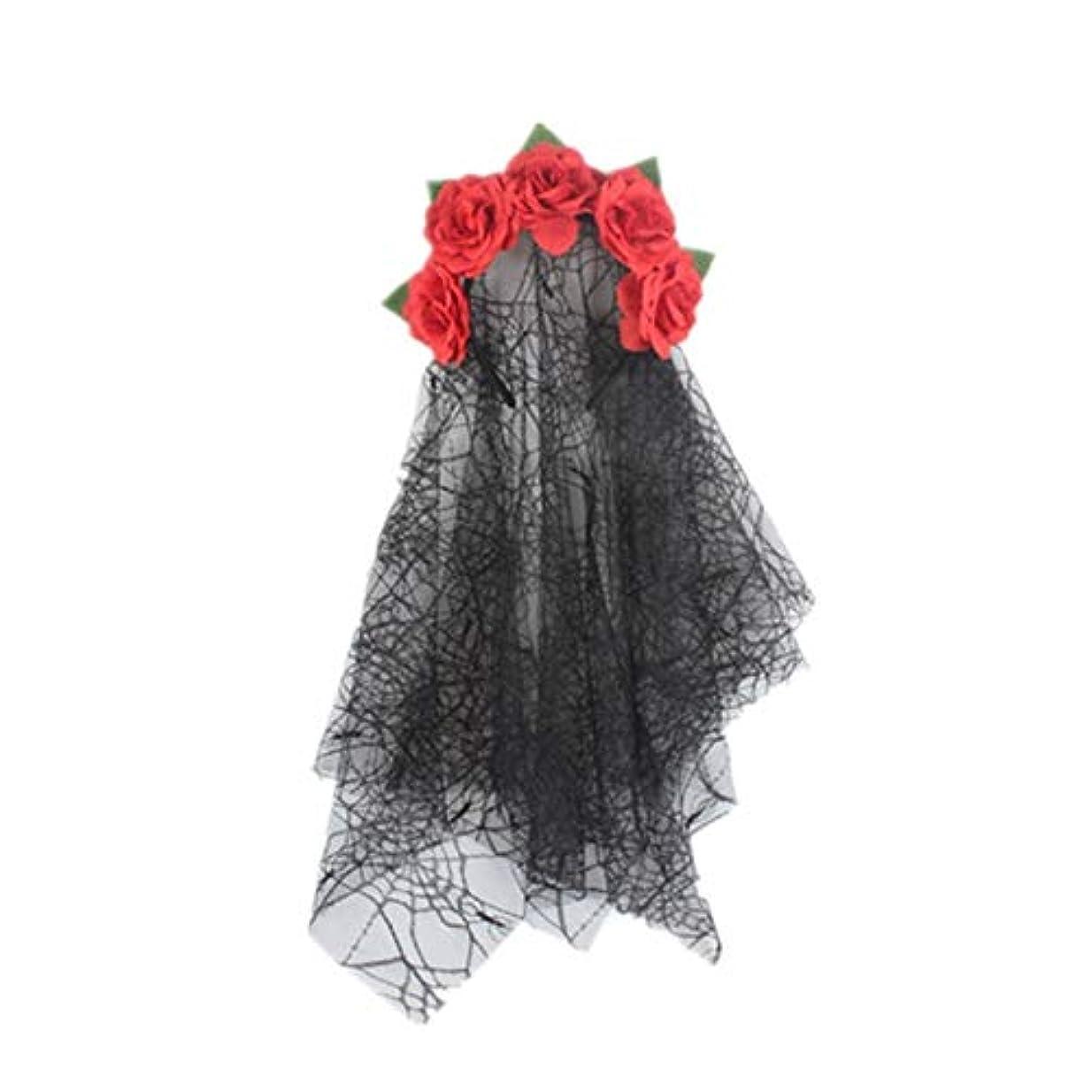 雑多なコンペガイダンス仮装パーティードレスコスチュームパーティーのアクセサリーベール女性赤いバラの花の冠プロのヘアクリップファッションヘアクリップを着てフード付き花嫁ヘアアクセサリー かわいい 髪留め (Color : Red)