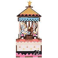 Muslady 木製ハンドクランク オルゴールDIYセット カルーセルデザイン クリスマス 誕生日プレゼント ミュージカルギフト