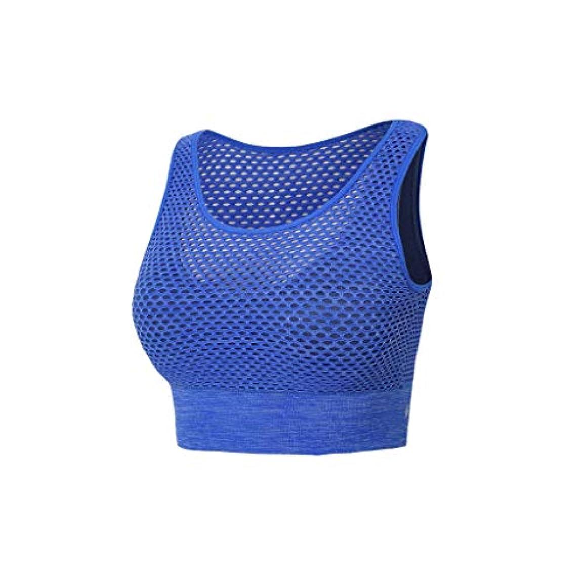 ぼろセージビール快適な 非スチールリングスポーツの下着女性のヨガのベストスタイルダブルメッシュブラフィットネスブラを収集します (Color : Blue, Size : S)