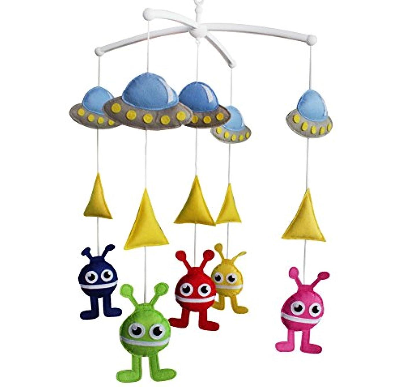 ドローフィット小石ベビーおもちゃ、幼児ミュージカルモバイル[宇宙船と怪物]、ベッドベル