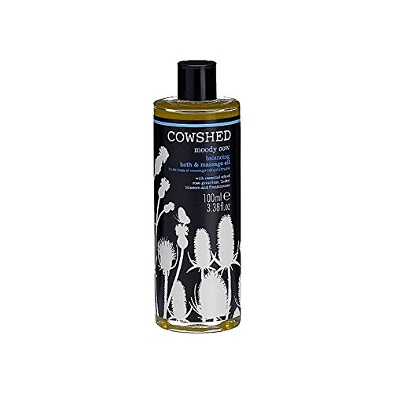 やりがいのある検出器おもてなし牛舎ムーディー牛均衡バス、ボディオイル100ミリリットル x4 - Cowshed Moody Cow Balancing Bath And Body Oil 100ml (Pack of 4) [並行輸入品]