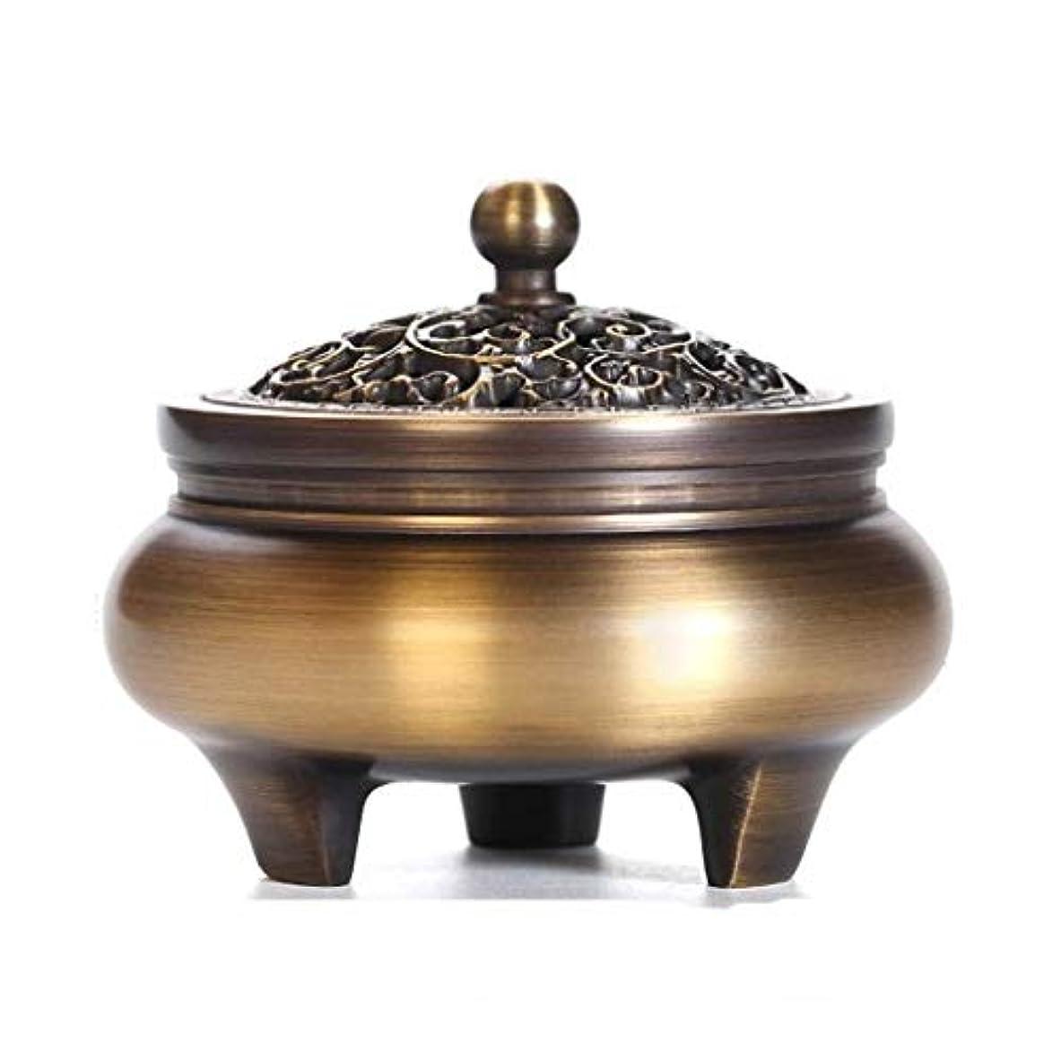 混沌彫刻家聡明芳香器?アロマバーナー 純粋な銅三脚家庭用香炉プロセス香バーナーホーム屋内アロマセラピー炉の装飾 アロマバーナー芳香器 (Color : Brass)