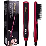 Hair Straightening Brush And Curler -Digital Electric Hair Straightener - Ceramic Ionic Anti Frizz Anti Scald - Anti-Scald Massager