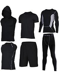 [ShowTime] メンズスポーツウェア, ヨガ?ランニング?フィットネス?トレーニング 吸汗速乾 通気性抜群 体型カバー (L, E- 6 Pieces)