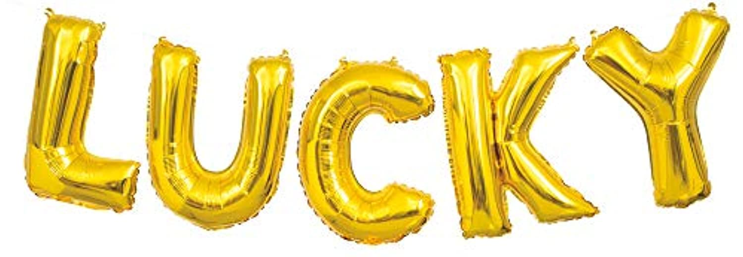 Unique Party 65927 Foil Gold Lucky Letter Balloon Banner Kit