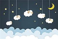 GooEoo 5×3フィート漫画ぶら下げ羊星空夜空雲雲幼稚なイラストビニール写真背景甘い夢の背景ベビーシャワーの誕生日パーティーバナーケーキスマッシュスタジオの小道具
