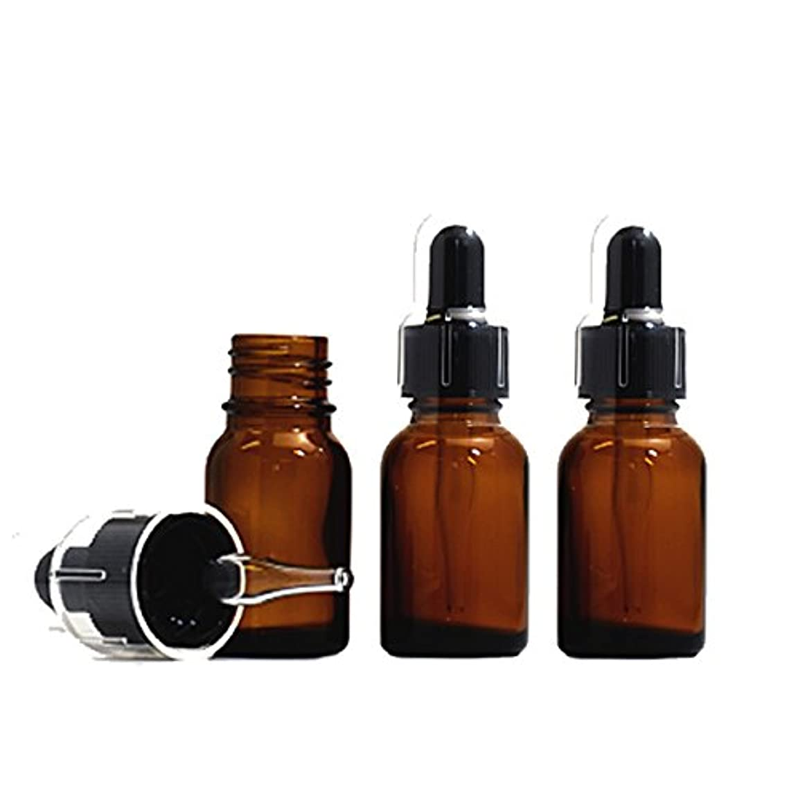 スポイトキャップ付茶色遮光瓶20ml (3本セット)(黒/ガラススポイトキャップ付/オーバーキャップ付)
