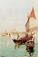 手書き-キャンバスの油絵 - 美術大学の先生直筆 - Sailboat In A ヴェネツィア Lagoon scenery Franz Richard Unterberger 絵画 洋画 複製画 ウォールアートデコレーション -サイズ06
