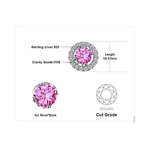 JewelryPalace 1.4ct 高品質 人工 ピンク サファイア イヤリング レディース 9月 誕生石 スターリング シルバー925 ピアス 女性