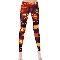 GLUDEAR Women's Halloween Print High Waist Leggings Stretch Full Length Tights Workout Pants