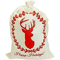LSHJP クリスマス ラッピング袋 ギフトバッグ 小物 ギフト袋 英字柄 祝日 エルク 巾着袋 サンタクロース お菓子入れ バッグ 大きめ 贈り物 パーティー (エルク)