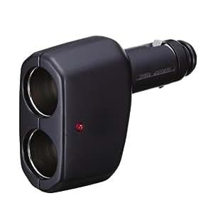 ナポレックス(NAPOLEX) 増設ソケット Fizz(フィズ) マルチソケットD2 ブラック 12Vソケット2口タイプ Fizz-892